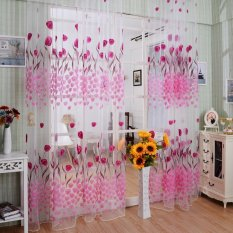 Tulip Flower Pattern Printed Window Curtains 100*200 CM Living Room Home Decoration Rod Pocket Process Voile Curtain - intl