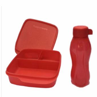 Tupperware Lunch Box set Glittery Eco Lolly 2pcs/set Merah