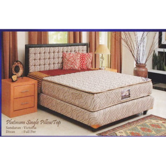 Uniland Kasur Springbed Platinum Single Pillowtop - Full Set Victoria - 160x200 - Khusus Jabodetabek