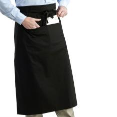 Universal Unisex Women Men Kitchen Cooking Waist Apron Short Apron Waiter Apron With Double Pockets (Black)