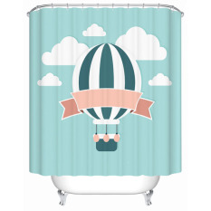 Utility Printed Hot Air Balloon Bedroom Decor Kid Living Room Square Curtains With Hook Waterproof Mouldrpoof Bath Shower Curtain W180CM X H200CM