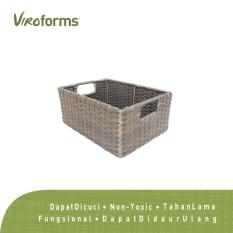 Viroforms Keranjang Penyimpanan Pantry/Bath Rotan Sintetis Small (S) - Washable