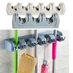 Wall Mounted Mop Brush Broom Organizer Holder Storage 5 Rack - Intl