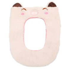 Washable Cartoon Toilet Seat Cover Soft Pad Cloth Lid Top Warmer Mat Bathroom Pink (Intl)