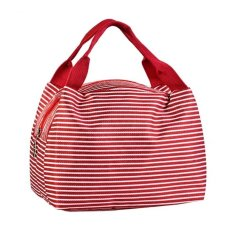 Waterproof Lunch Bags Fashion Striped Lunch Insulated Tote Bag with Zipper