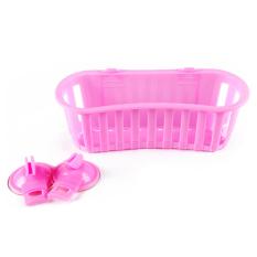 Waterproof Sucker Shelf Basket Home Bathroom Kitchen Wall Storage Rack Pink