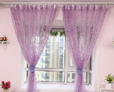weizhe Floral Tulle Voile Window Curtain Drapes Tulip Flower Voile Curtain Drape Panel Shade Curtain(Green Tulip,100x200cm) - intl