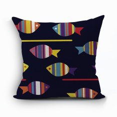 Yazilind Fish Pattern Decorative Pillowcase Room Sofa Home 45*45CM / 17.55*17.55 Inch (Intl)