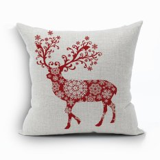 Yazilind Red Deer Pattern Decorative Pillowcase Room Sofa Home 45*45CM / 17.55*17.55 Inch
