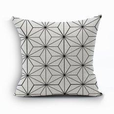 Yazilind Sample Geometry Pattern Decorative White Pillowcase Room Sofa Home 45*45CM / 17.55*17.55 Inch