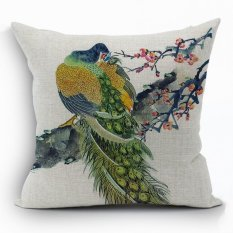 Yazilind Sample Style Peacock Pattern Decorative Multicolor Pillowcase Room Sofa Home 45*45CM / 17.55*17.55 Inch (Intl)