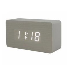 YBC LED Meja Kantor Jam Alarm Kayu (Putih Bawah + Putih Kata)