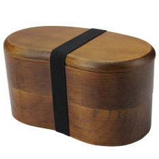 YFWOOD Wood Lunch Box Japanese Style Bento Boxes Handmade Natural Wooden Sushi Box Tableware Bowl With 1 Dinner Spoon & 1 Dinner Fork - Intl