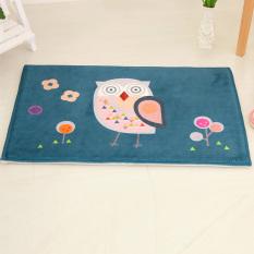 Yika Absorbent Soft Coral Velvet Non-slip Bathroom Floor Mat Rug Owl (Green)