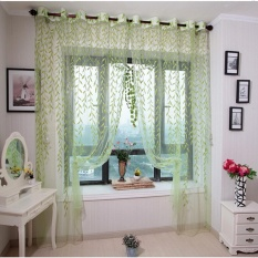 yiuhua Floral Tulle Voile Window Curtain Drapes Tulip Flower Voile Curtain Drape Panel Shade Curtain(Blue Tulip,100x200cm) - intl