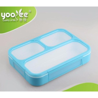 YOOYEE LEAK PROOF GRID LUNCH BOX SEKAT 3 / KOTAK MAKAN ANTI TUMPAH 579-BIRU