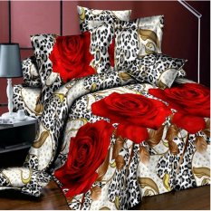 ZHENGQI 4 Pcs Sueding 3D Quilt Cover Pillowcases And Bed Linen Set (001)
