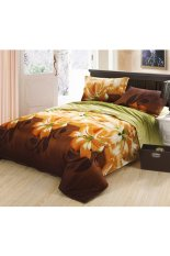 ZHENGQI 4 Pcs Sueding 3D Quilt Cover Pillowcases And Bed Linen Set (Lilies)