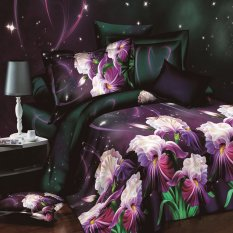 ZHENGQI 4 Pcs Sueding 3D Quilt Cover Pillowcases And Bed Linen Set (Tuberose)