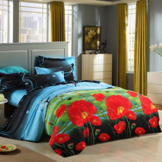 Zmomma Europe Type 3D Printed Lotus Flower Pattern 4 PCS Bedding (Duvet Cover*1, Bed Sheet*1, And Pillowcase*2)
