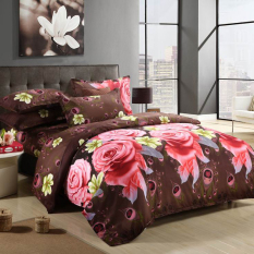Zmomma Europe Type 3D Printed Rose Flower Pattern 4 PCS Bedding (Duvet Cover*1, Bed Sheet*1, And Pillowcase*2) - Multi-Color