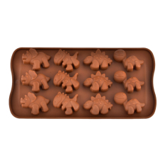 ZUNCLE 12-Slot Dinosaur Shaped Silicone Chocolate Cake Biscuit Baking Mold Tray Ice Mold Bakeware – Chocolate