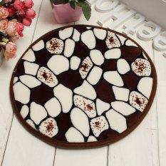 30cm Round Non Slip Foam Coral Velvet Bath Bedroom Shower Mat Floor Door Rug New Coffee Stone