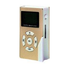 32GB Mini USB Clip MP3 Player LCD Screen Support 32GB Micro SD TF Card (Gold)