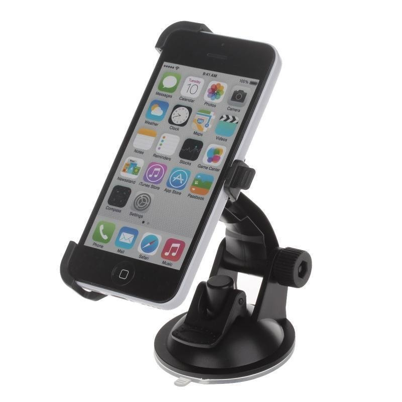 360 Degree Rotation Holder Mount Bracket with H01 Suction Cup for iPhone 5C (Black)