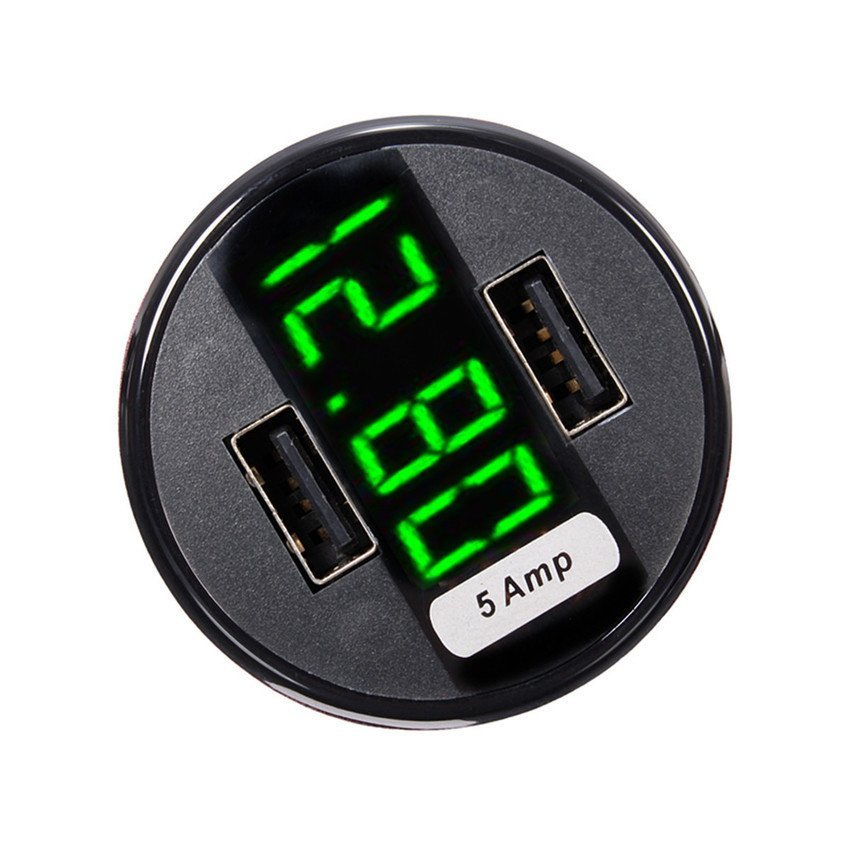 360 Dual USB Car Charger Adapter LED Display Voltage Current Temperature Meter (Intl)