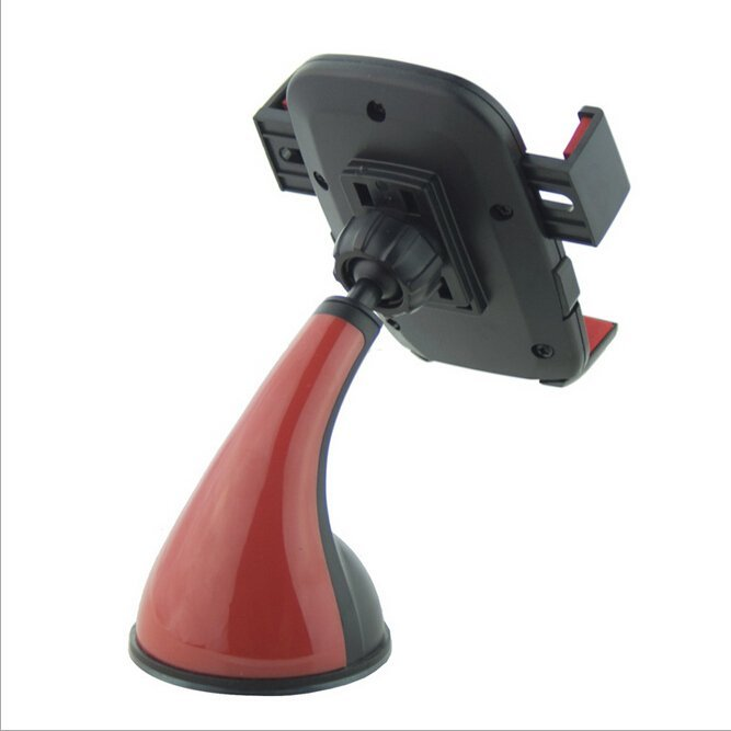 360 Flexible Car Auto Windshield Dual Clip Mount Holder Stand Bracket For Smart Phone (Red) (Intl)