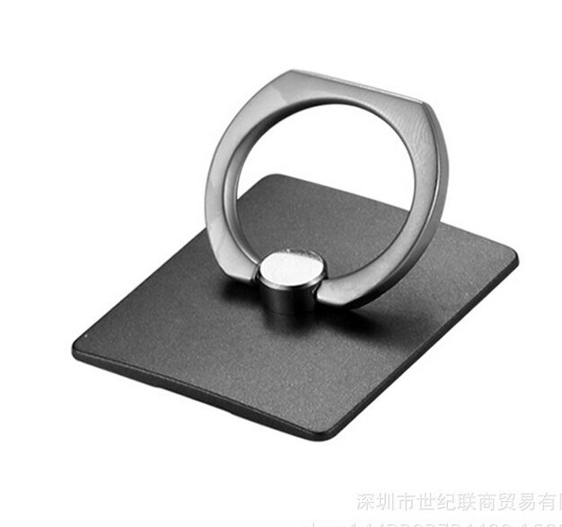360°Stainless Steel Bunker Ring Mobile Phone Finger Ring Holder and Stand (Black) (Intl)