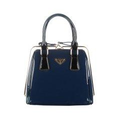 360DSC Women Love Korean Fashion Patent Leather Bag Steel Clip Ladies Handbags (Vertical Type) (Blue) - INTL