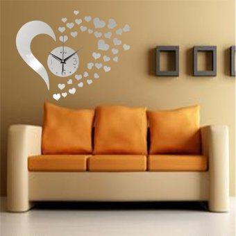 3D DIY Home Modern Mirror Wall Clock Artistic Love Sticker LivingRoom ...