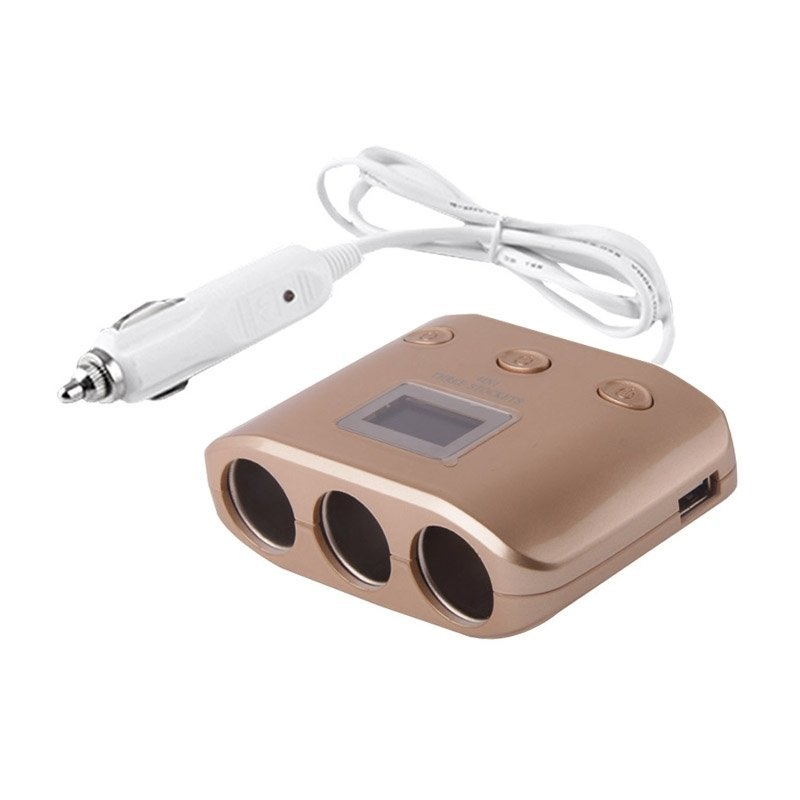 4 in 1 Multi 3 Sockets 2 USB Charger Adapter Splitter with Car Cigarette Lighter (Gold) (Intl)
