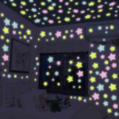 100PCS Bintang 3D Glow In Dark Sticker Dinding Fluorescent Luminous Plastik  Dekorasi rumah - intl