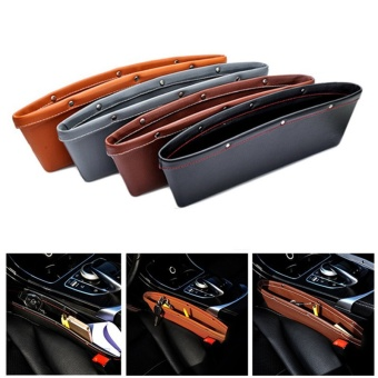 2PCS Leather Car Seat Gap Storage Bag Container Stowing TidyingPocket Leak proof Auto .