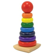 360DSC 8-Piece Rainbow Stacker Stacking Rainbow Tower Wooden Building Blocks Educational Toy For Kids - Intl