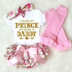 4Pcs/Set Newborn Clothing Set Letter Printed Bodysuits Flower Bowknot Shorts Headband Leggings - intl