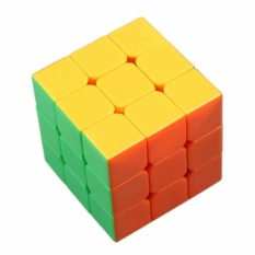 AA Toys Magic Cube Rubik 3 x 3 Stickerless Color Mika - Mainan Rubik Base Putih Stikerless 3x3