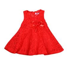 Anak Bayi Rorychen Gaun Bunga Girl Without Lengan Renda (Merah)