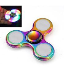 ANGEL - Fidget Spinner LED New Exotic Hand Toys Mainan Tri-Spinner Metalic EDC Focus Games - Rainbow