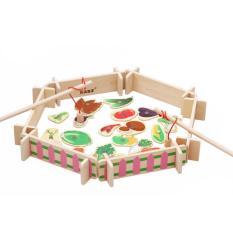 Baby Educational Toys Happy Farm Model Building Kits Wooden Toys Simulation Farm Animals Magnetic Fishing Building Blocks Gift - Intl