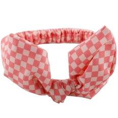 Baby Headband Bow Elastic Pink Grid - intl