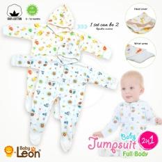 Baby Leon Baju Bayi 2in1 Full Body 100% catton Jumper /Baju Tidur anak/Baju tidur bayi/Body suit BC-02 - White