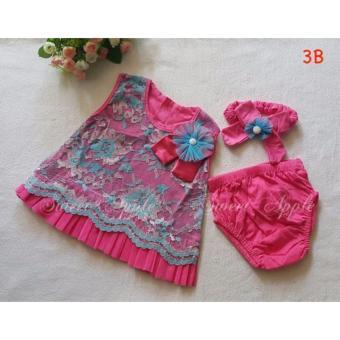 Baju Setelan Bayi Perempuan SA 3B HOTPINK