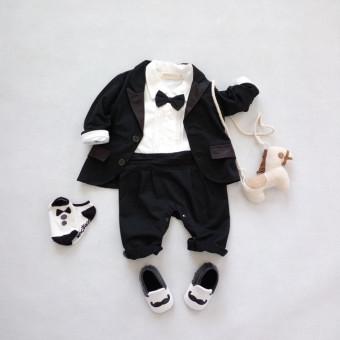 Bayi laki-laki baju monyet + jas panjang 2 buah pakaian ditetapkan- Internasional