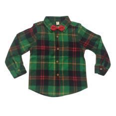 YBC anak laki-laki 2 buah baju kemeja kotak-kotak set + Pants tali