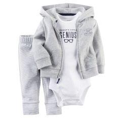 Carters Cardigan Celana Bayi Baru Lahir Anak Bayi Baju Set Pakaian Abu-Abu