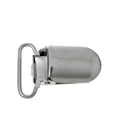 Comebuy88 Metal Baby Pacifier Clip DIY Suspender Oval Silver Tone 27x13 mm